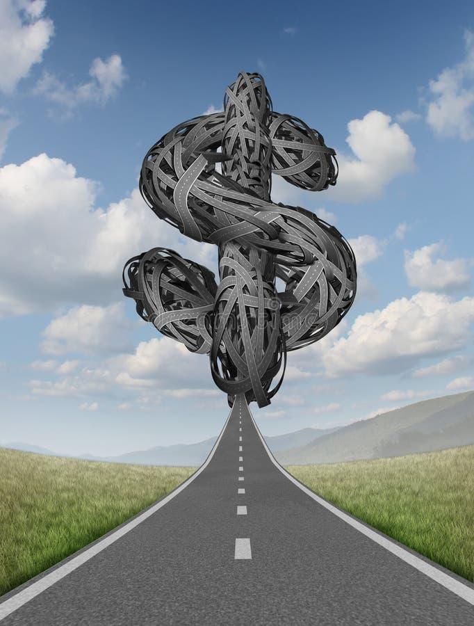 Финансовохозяйственная пробка на дороге иллюстрация вектора