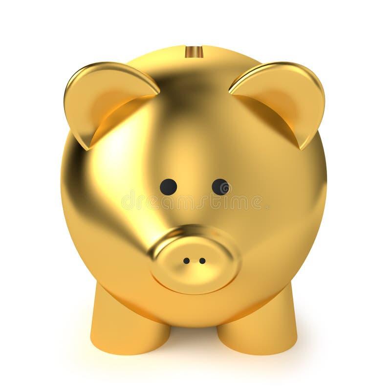 Золотистый Piggy банк иллюстрация вектора