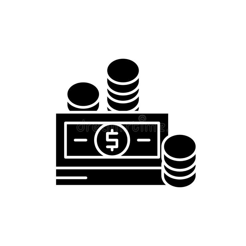 Финансовые взносы черный значок, знак вектора на изолированной предпосылке Символ концепции финансовых взносов иллюстрация вектора
