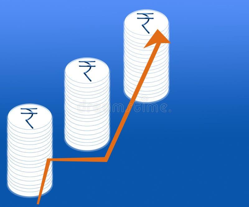 Финансовые графики предпосылки Индии бюджета вклада валютного рынка иллюстрация вектора