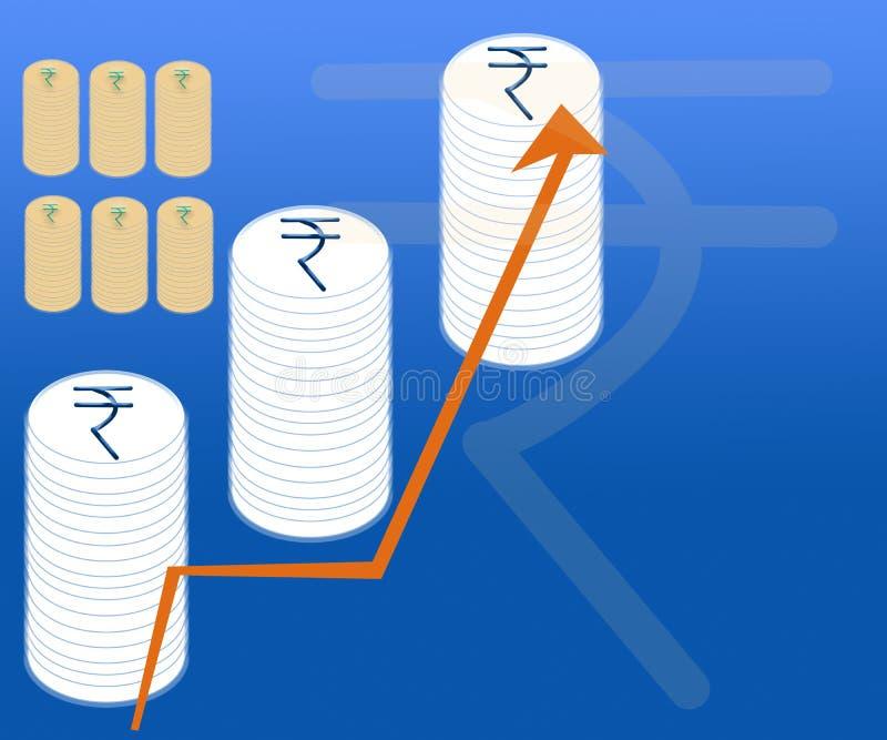 Финансовые графики предпосылки Индии бюджета вклада валютного рынка иллюстрация штока