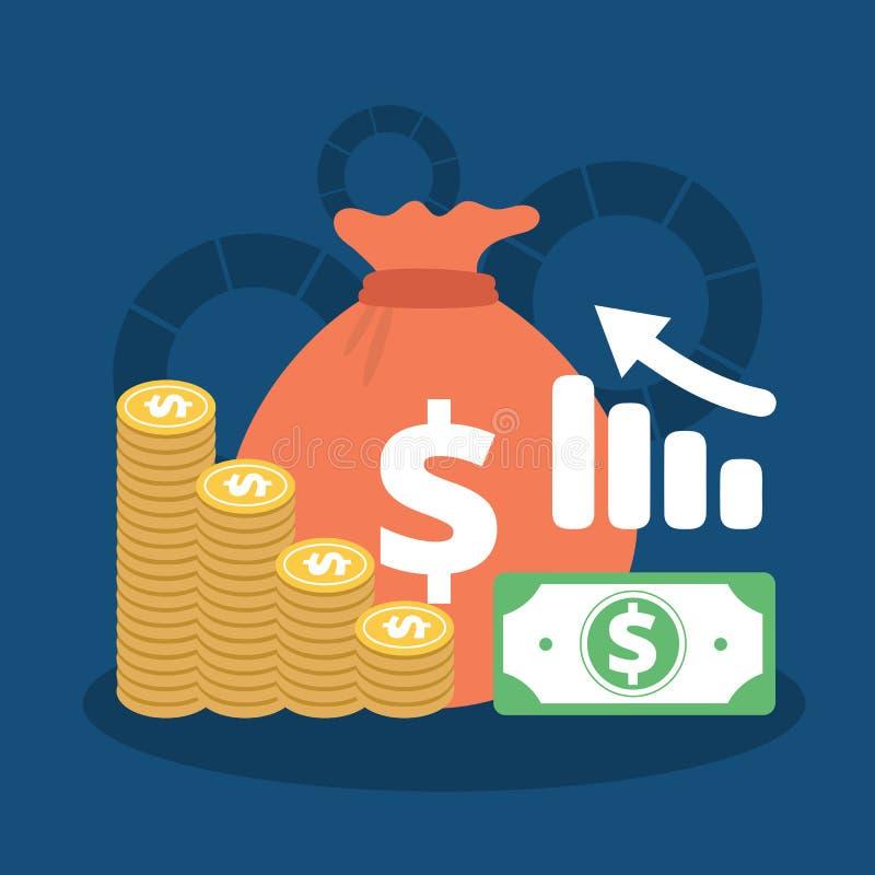 Финансовые показатели, рентабельность инвестиций, инвесторская компания, планирование бюджета, отчет о статистики, урожайность де иллюстрация вектора