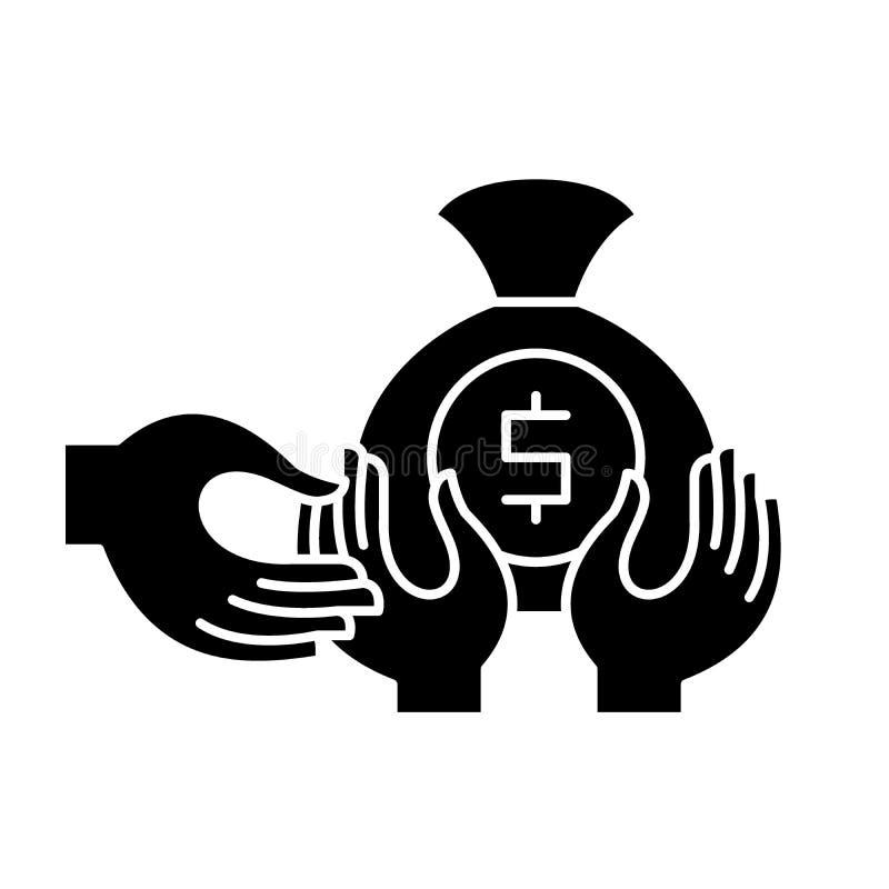 Финансовый значок черноты очковтирательства, знак вектора на изолированной предпосылке Финансовый символ концепции очковтирательс иллюстрация штока