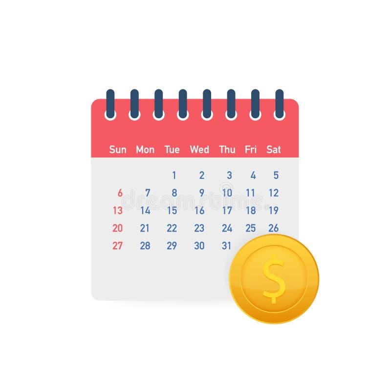 Финансовый календарь, день ежегодного платежа, ежемесячное планирование бюджета, фиксированная концепция периода r бесплатная иллюстрация