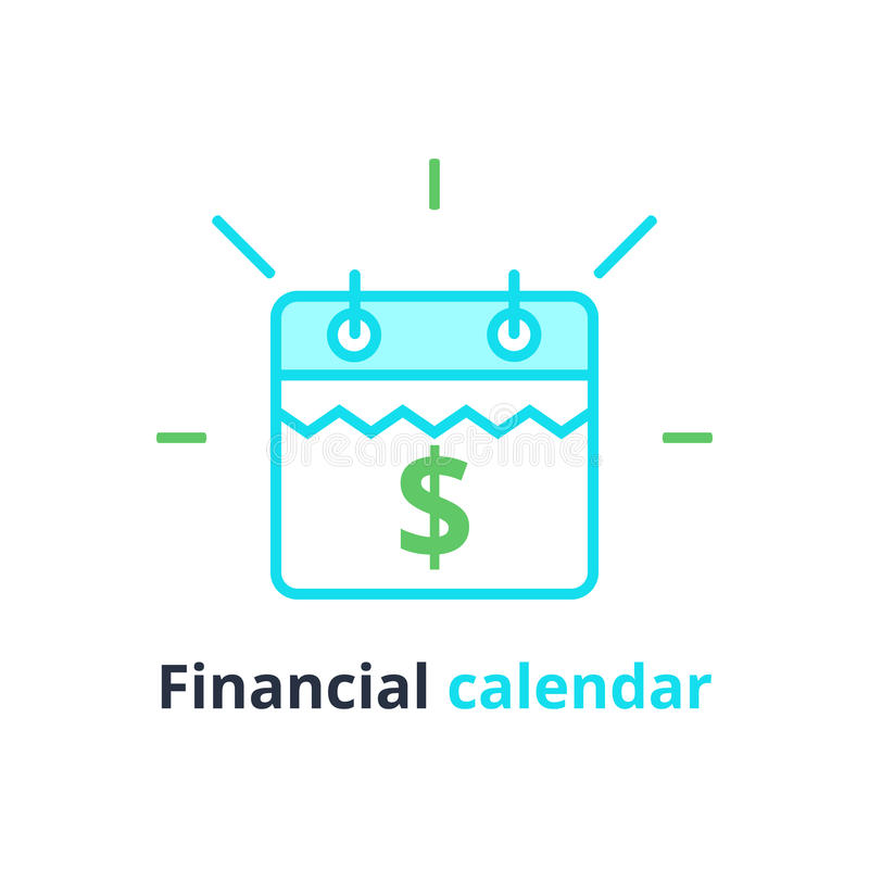 Финансовый календарь, день ежегодного платежа, ежемесячное планирование бюджета, фиксированная концепция периода, продолжительнос иллюстрация штока