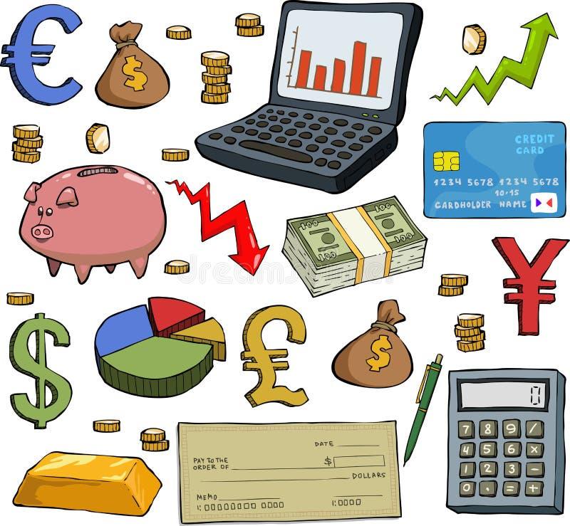 Финансовый комплект иллюстрация штока