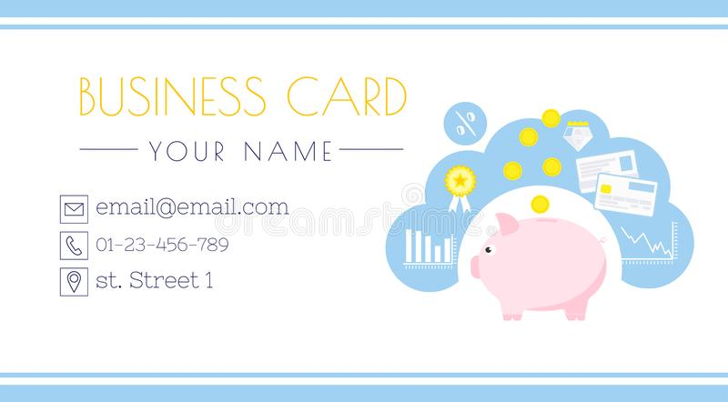 Финансовый консультант Деньги, сбережения и депозит вклада Piggy банк Личный бухгалтер иллюстрация вектора