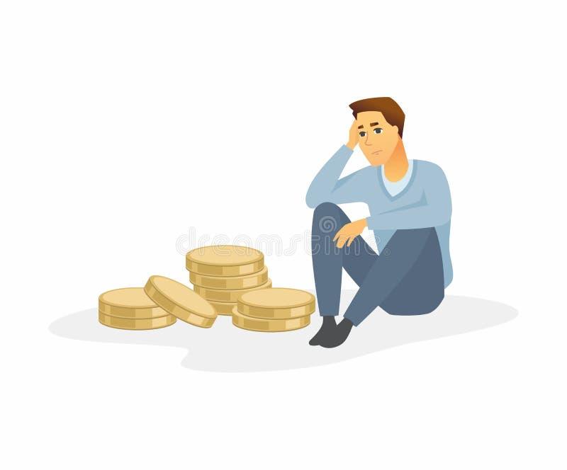 Финансовый кризис - современная иллюстрация характера людей мультфильма иллюстрация штока