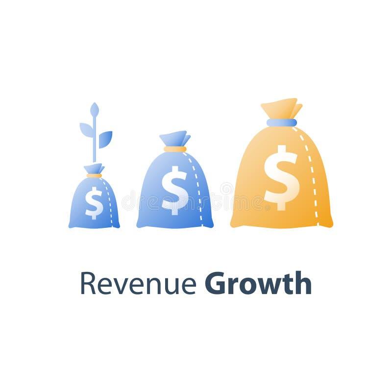 Финансовый неуклонный рост производительных сил значения, стратегия долгосрочных инвестиций, распределение имущества, рост дохода иллюстрация штока