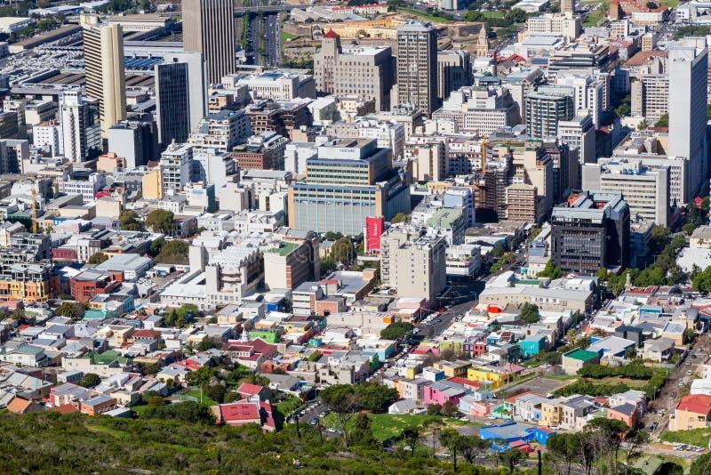 Финансовый район Кейптауна & антенна bo-Kaap стоковые изображения rf