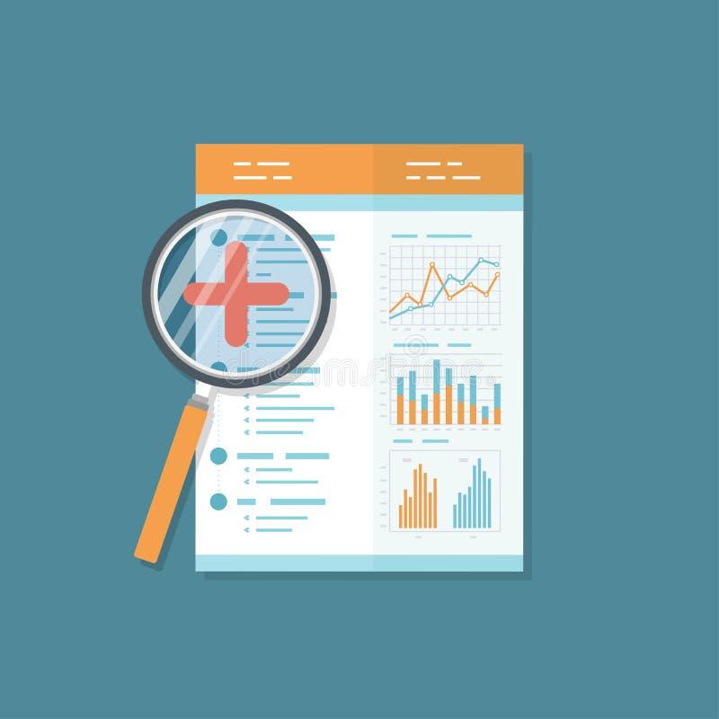 Финансовый ревизионныйа отчет, документ с лупой Результат проверки икона Диаграммы диаграмм на бумаге иллюстрация вектора