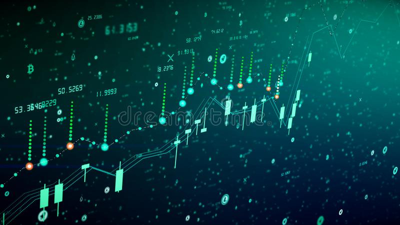 Финансовый рост диаграммы на бычьем рынке, показывая выгоду роста и увеличения иллюстрация вектора