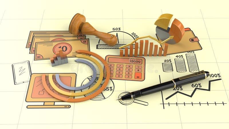 Финансы дела и отчет о налога стоковые изображения rf