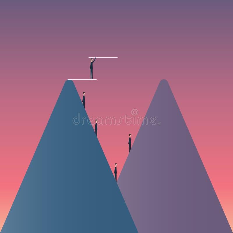 Финансы дела вектора мост и завоевывать концепцию дела невзгоды иллюстрация вектора