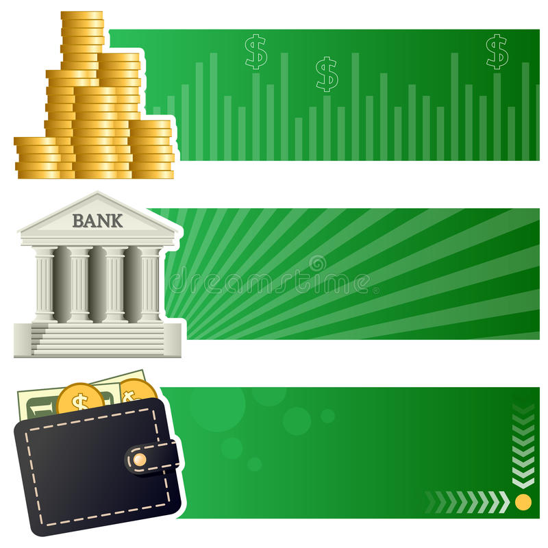 Финансы & знамена денег горизонтальные иллюстрация штока