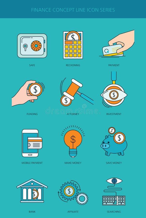 Финансы и линия установленные значки концепции банковского дела бесплатная иллюстрация