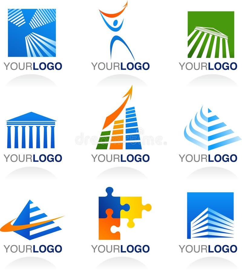 Финансы и логосы и иконы недвижимости иллюстрация штока