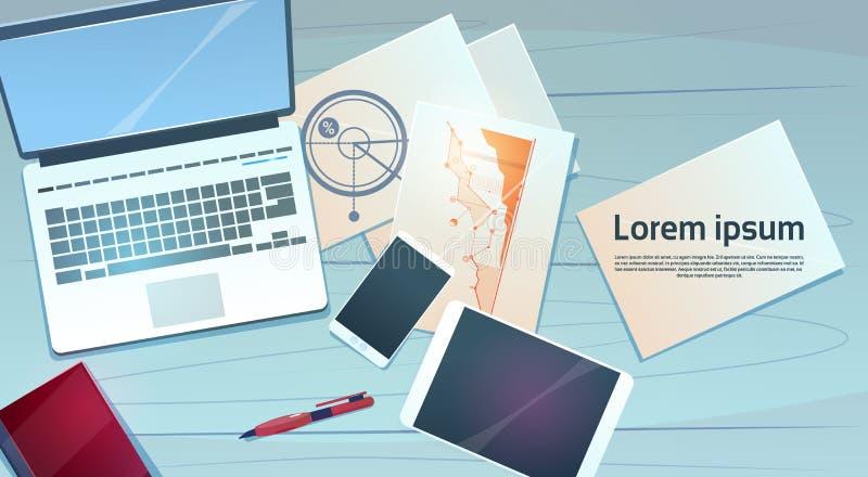 Финансы компьтер-книжки стола рабочего места документируют взгляд верхнего угла вещества офиса бумаг бесплатная иллюстрация