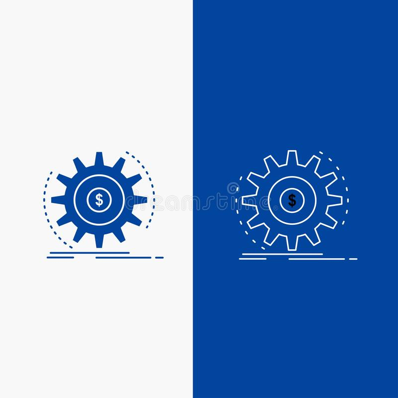 Финансы, подача, доход, делать, кнопка сети линии денег и глифа в знамени голубого цвета вертикальном для UI и UX, вебсайт или че бесплатная иллюстрация