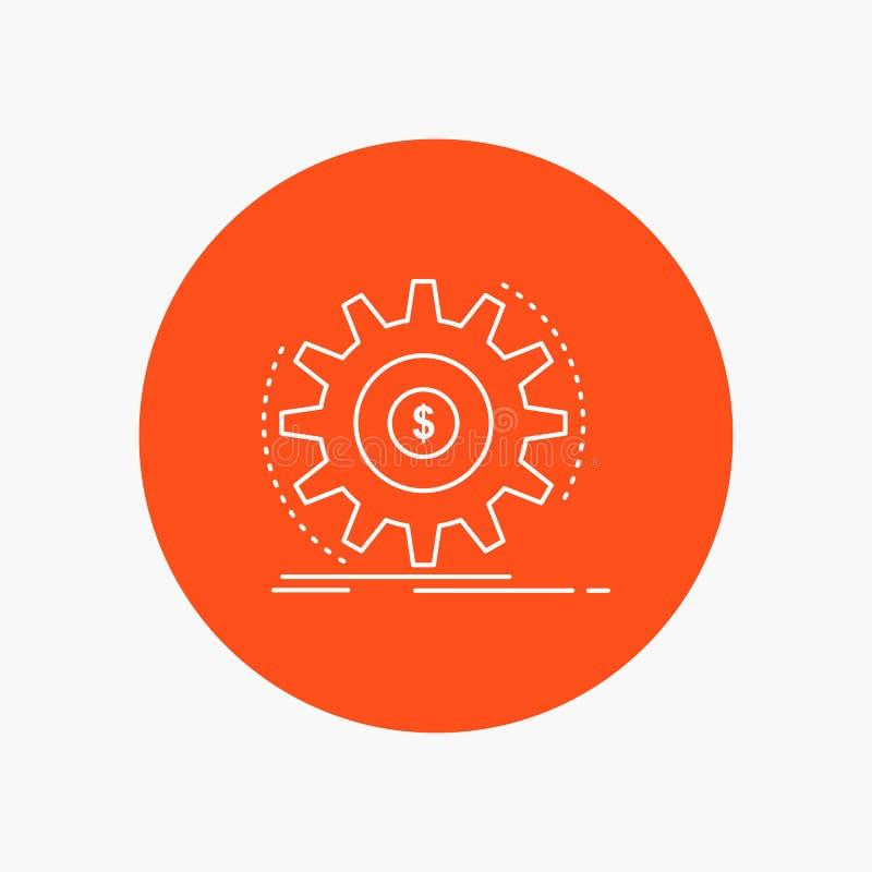 Финансы, подача, доход, делая, линия значок денег белая в предпосылке круга r иллюстрация штока
