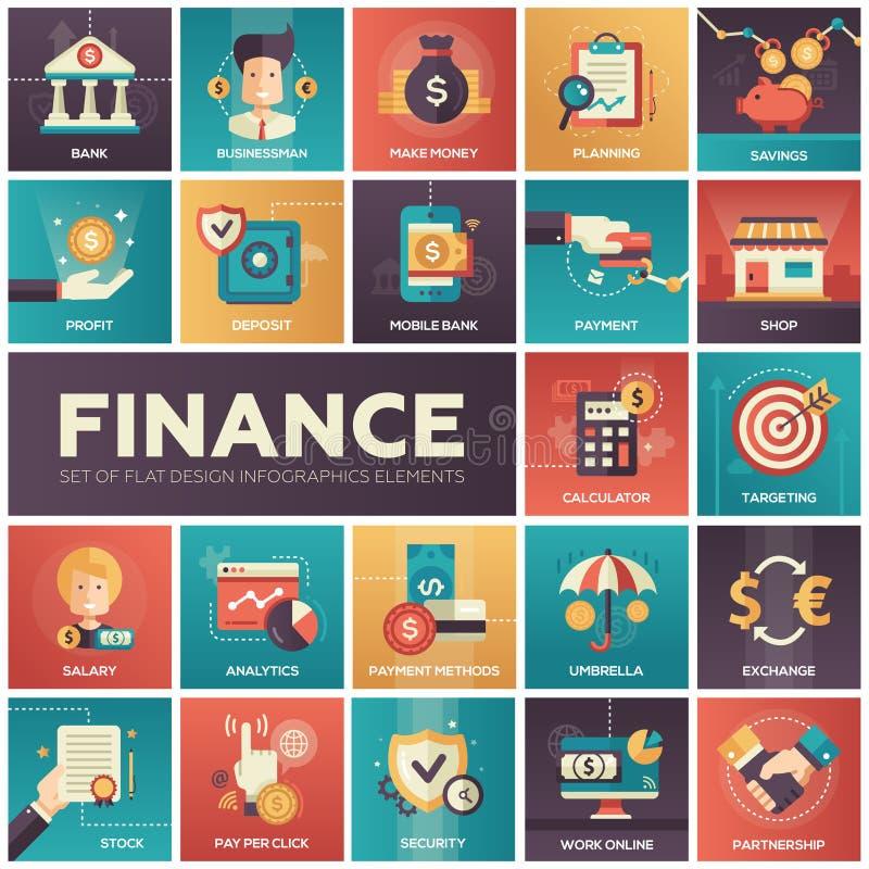 Финансы - современные плоские значки isquare дизайна бесплатная иллюстрация