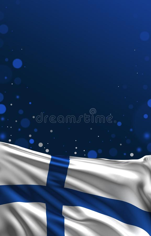 Финский флаг, предпосылка цвета Финляндии, 3D представляет бесплатная иллюстрация