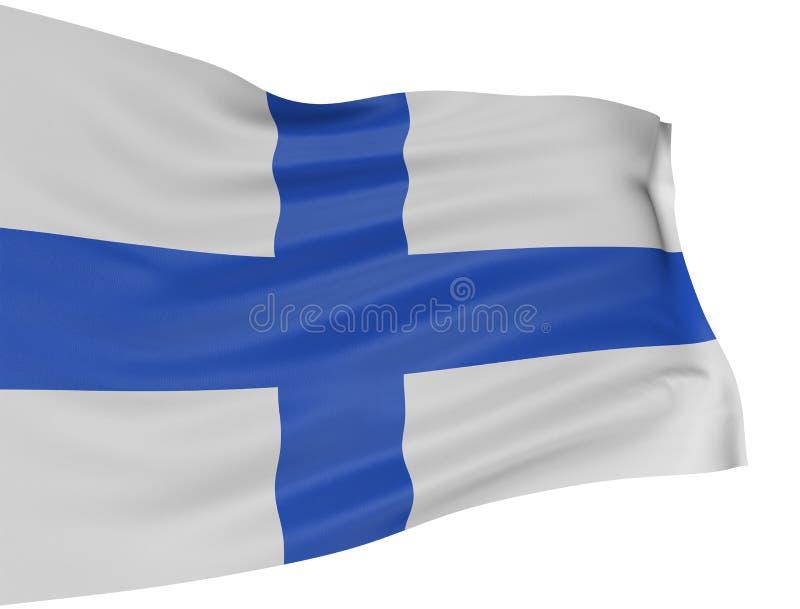 финский флаг 3d иллюстрация вектора