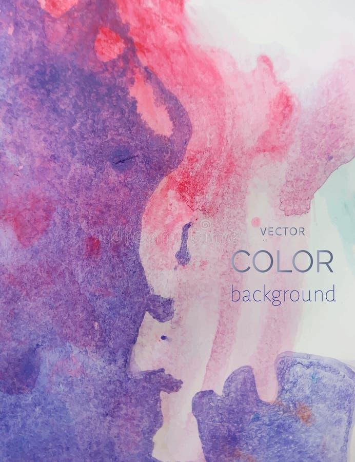 Фиолетовая и розовая предпосылка искусства абстрактной акварель покрашенная рукой иллюстрация вектора