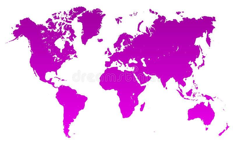 Фиолетовая карта мира - вектор иллюстрация вектора