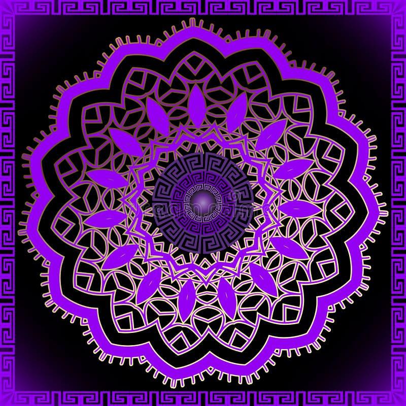 Фиолетовая красивая картина мандалы 3d Греческий ключ извивается роскошный орнамент Предпосылка современного конспекта орнаментал иллюстрация штока