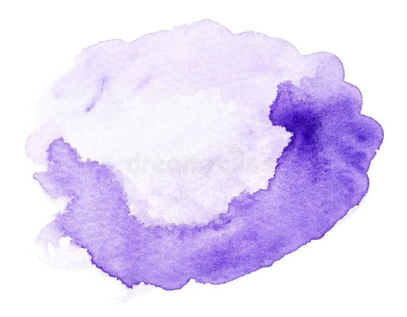 Фиолетовая нарисованная рука выплеска акварели стоковое изображение