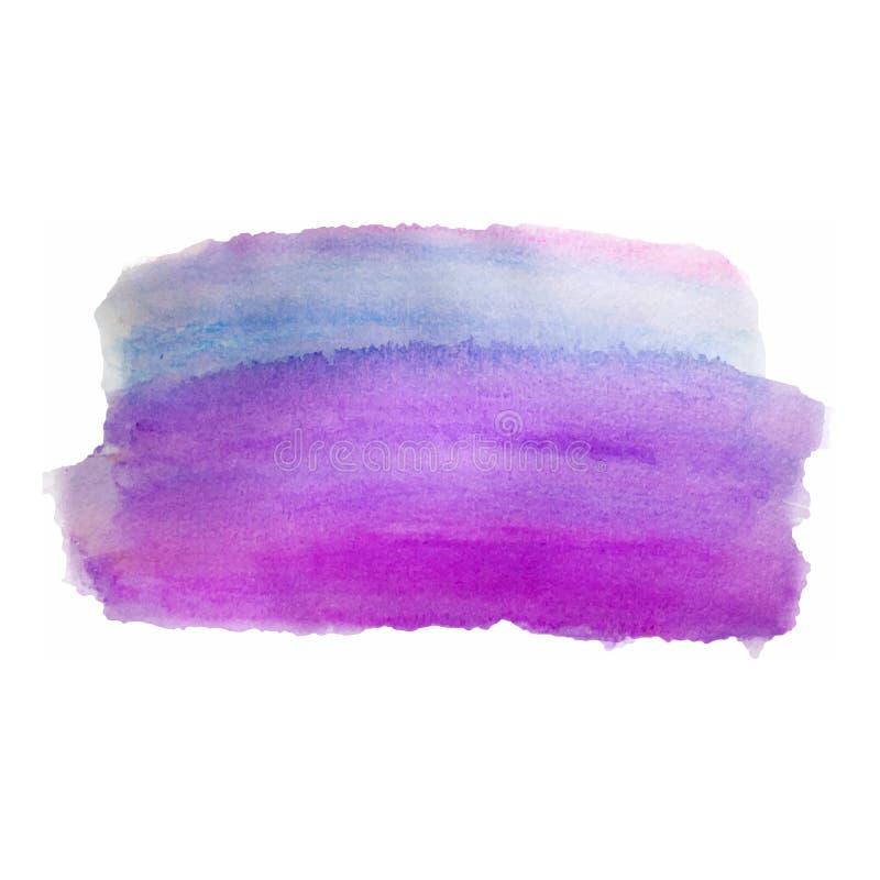 Фиолетовая покрашенная рука, красочные нашивки акварели градиента изолированные на белизне Акриловый высушите ход щетки иллюстрация штока
