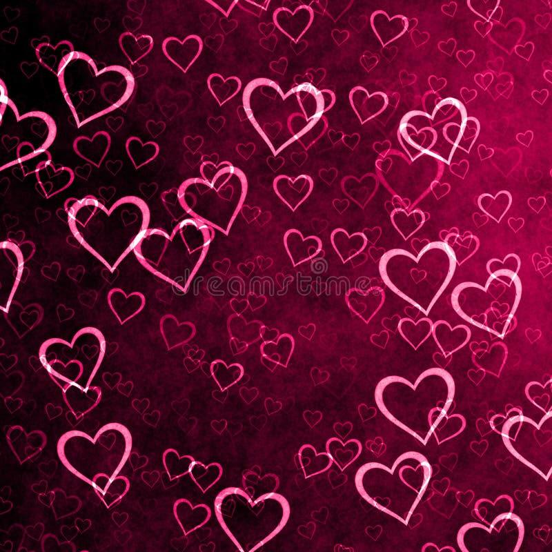 Фиолетовая предпосылка с много сердцами стоковое изображение rf