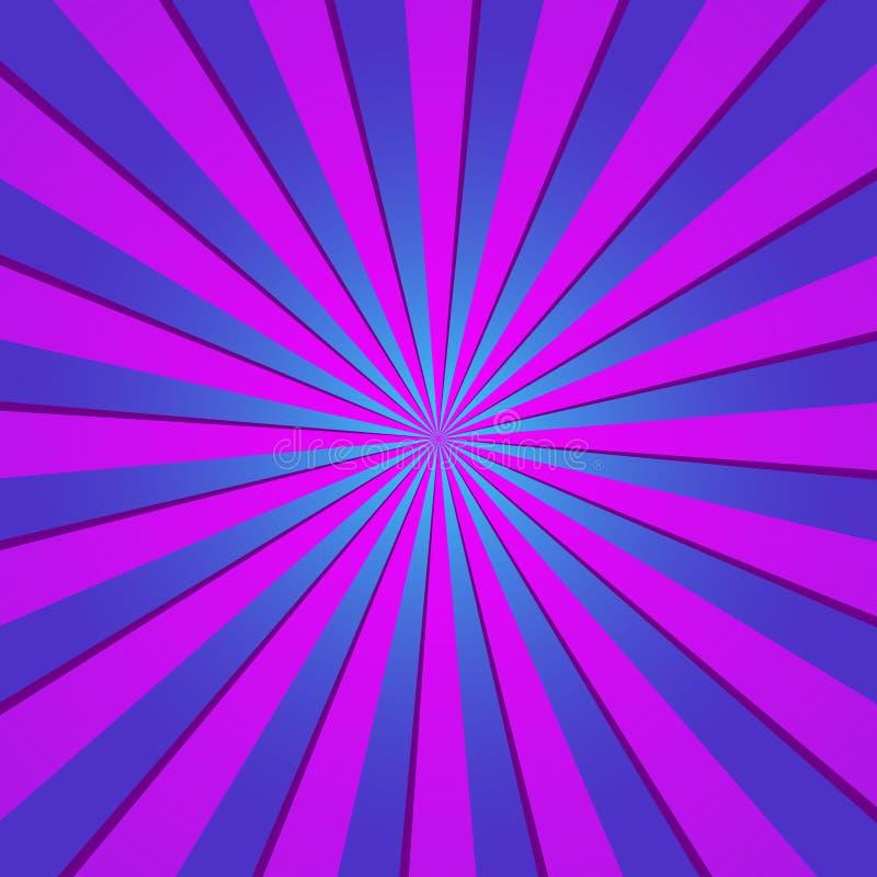 Фиолетовая радиальная ретро предпосылка Фиолетовая и голубая спираль конспекта и градиента, вектор eps10 starburst иллюстрация штока