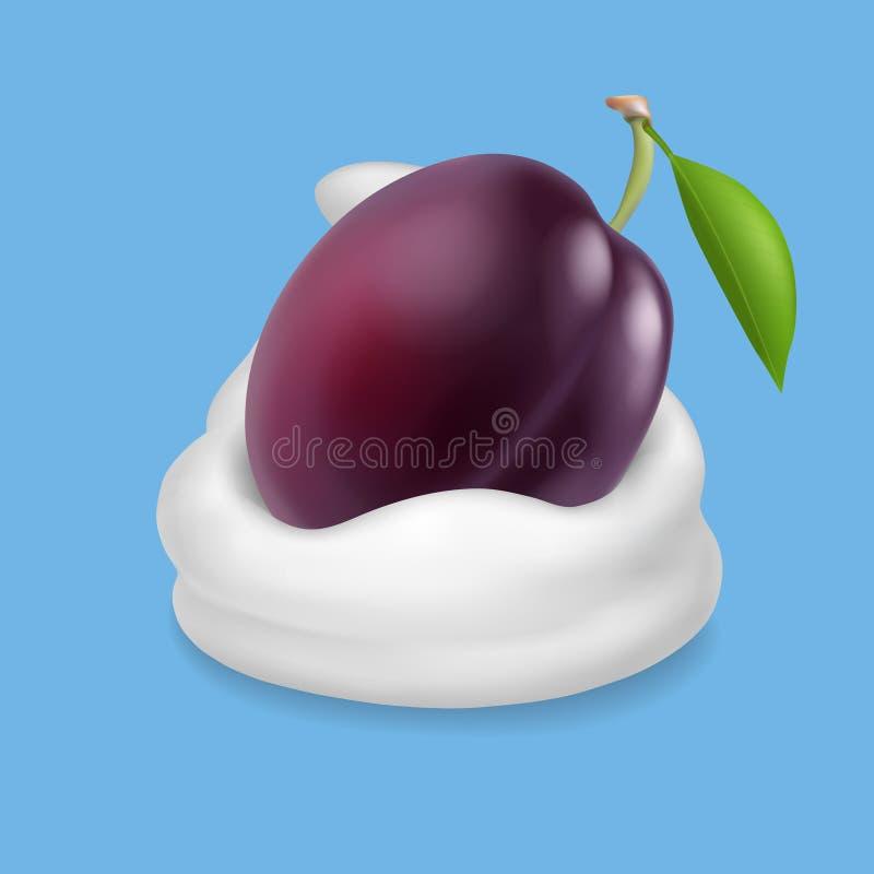 Фиолетовая слива в югурте, мороженом или взбитой сливк иллюстрация штока