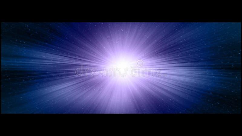 Фиолетовое и голубое кинематографическое stargate в глубоком космосе иллюстрация штока