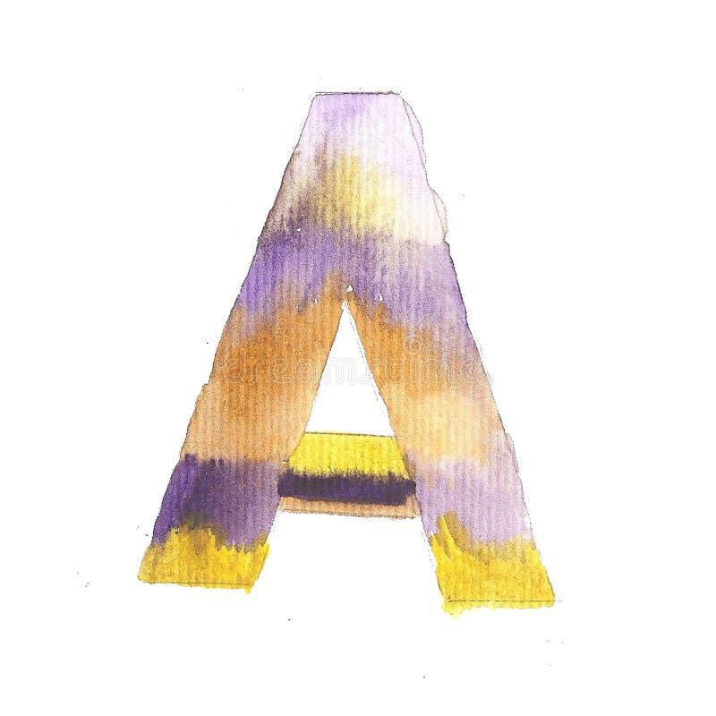 Фиолетовое письмо a акварели Покрашенная рука прописно бесплатная иллюстрация