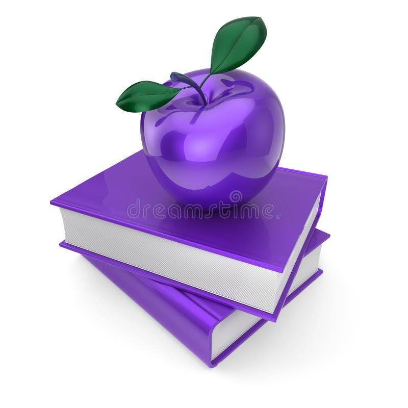 Фиолетовое яблоко и голубые книги иллюстрация вектора