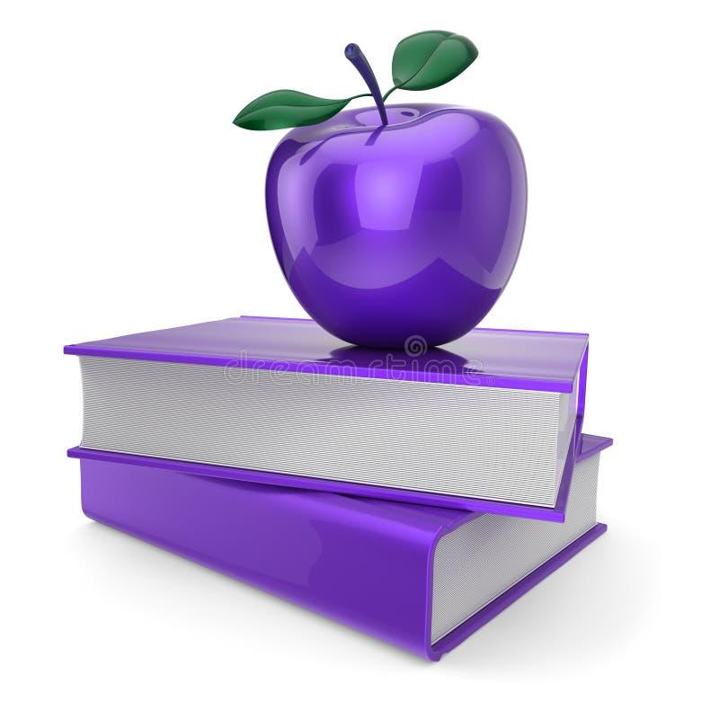 Фиолетовое яблоко и 2 голубых книги образование, изучая символ иллюстрация вектора