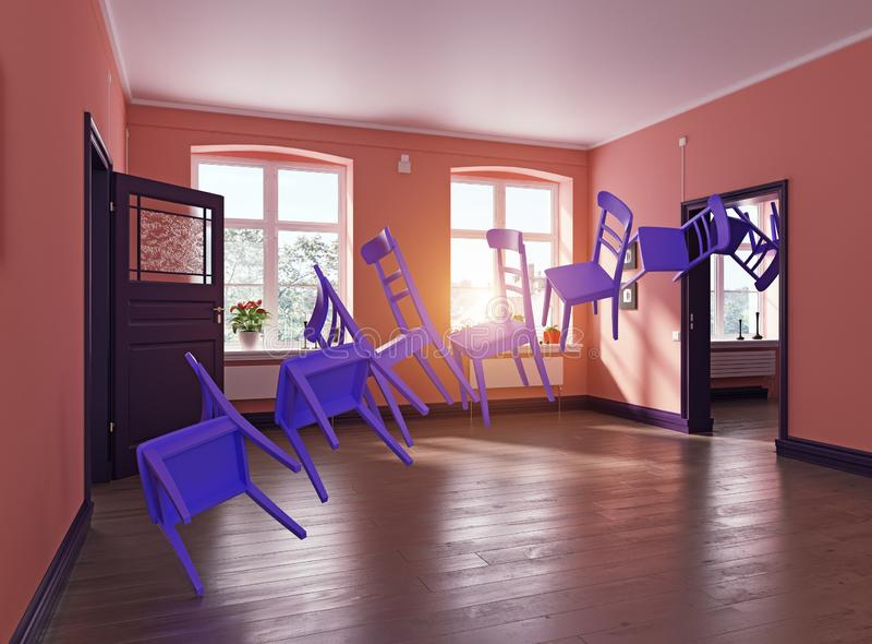 Фиолетовые стулья летая бесплатная иллюстрация