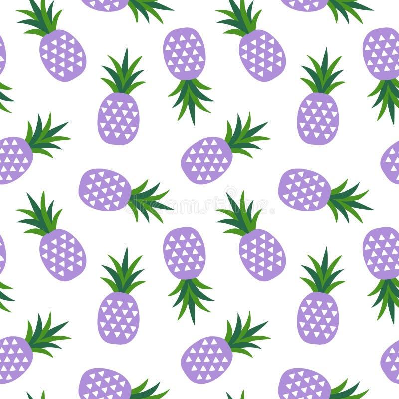 Фиолетовый ананас с летом плодоовощ треугольников геометрическим тропическим бесплатная иллюстрация
