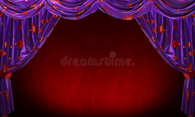 Фиолетовый занавес бархата с звездами золота красными на красной предпосылке стоковые фото