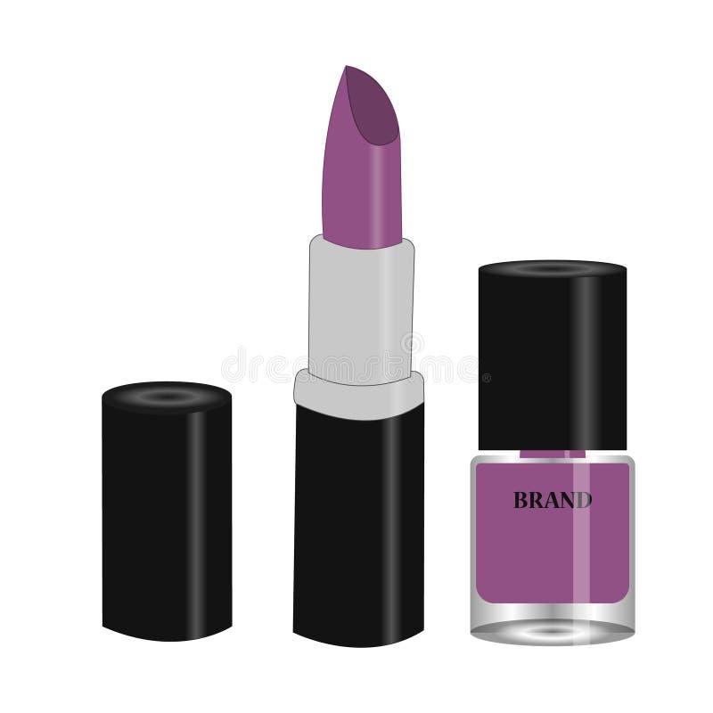 Фиолетовый набор красоты - губная помада и маникюр иллюстрация штока