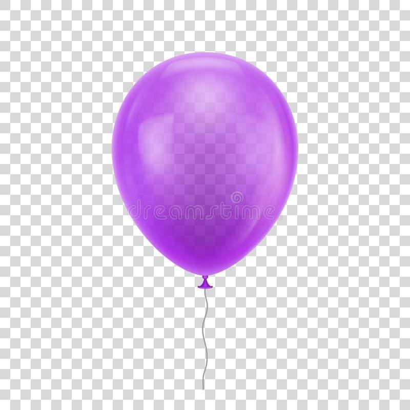 Фиолетовый реалистический воздушный шар иллюстрация штока