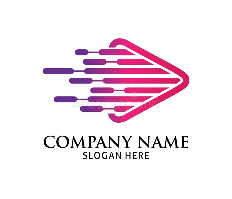 Фиолетовый розовый динамический дизайн логотипа вектора применения игры мультимедиа бесплатная иллюстрация