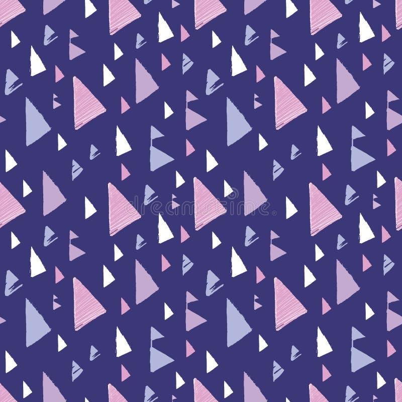 Фиолетовый розовый племенной дизайн картины повторения треугольников иллюстрация вектора