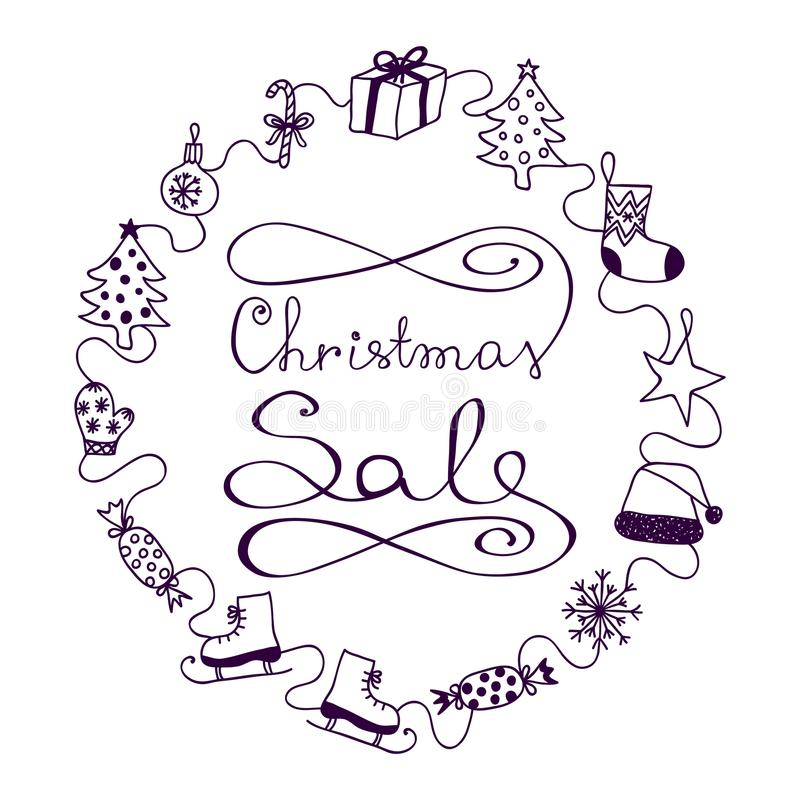 Фиолет на белой продаже рождества знамени иллюстрация штока