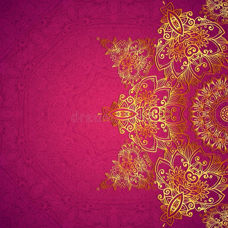 Фиолетовая богато украшенная винтажная предпосылка карточки свадьбы иллюстрация штока