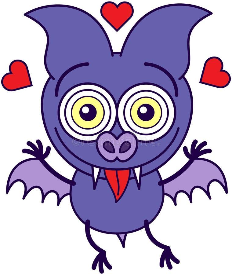 Фиолетовая летучая мышь сумашедше в влюбленности иллюстрация вектора