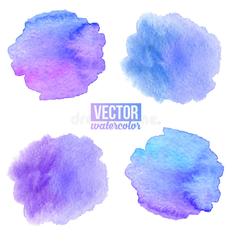 Фиолетовая и голубая акварель покрасила предпосылки вектора пятен установленный бесплатная иллюстрация